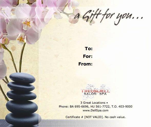 Printable Massage Gift Certificates Elegant Massage T Certificate Template Gift Certificate Template Treusdell Salon & Spa