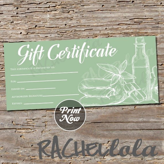 Printable Massage Gift Certificates Luxury Printable Green Spa Gift Certificate Template Spring Voucher Mother S Day Christmas Salon