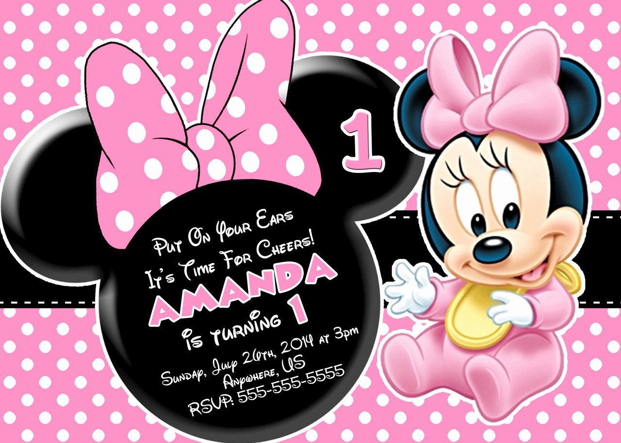Printable Minnie Mouse Invitations Awesome Minnie Mouse First Birthday Invitations Free Invitation