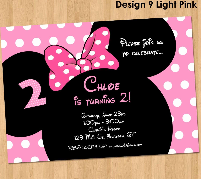 Printable Minnie Mouse Invitations Fresh Minnie Mouse Invitation Printable Birthday Party Custom