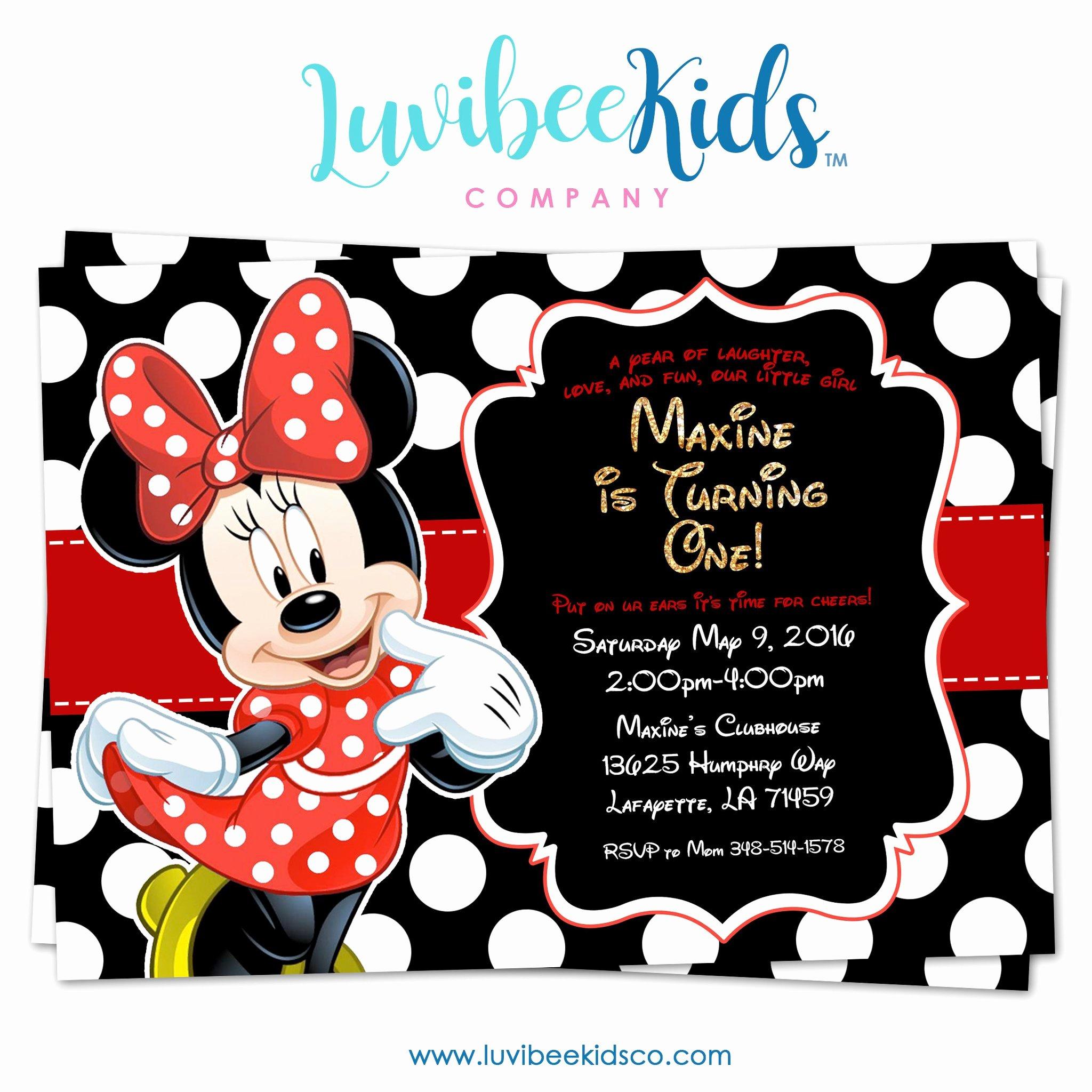 Printable Minnie Mouse Invitations Inspirational Minnie Mouse Birthday Invitation Printable Invite