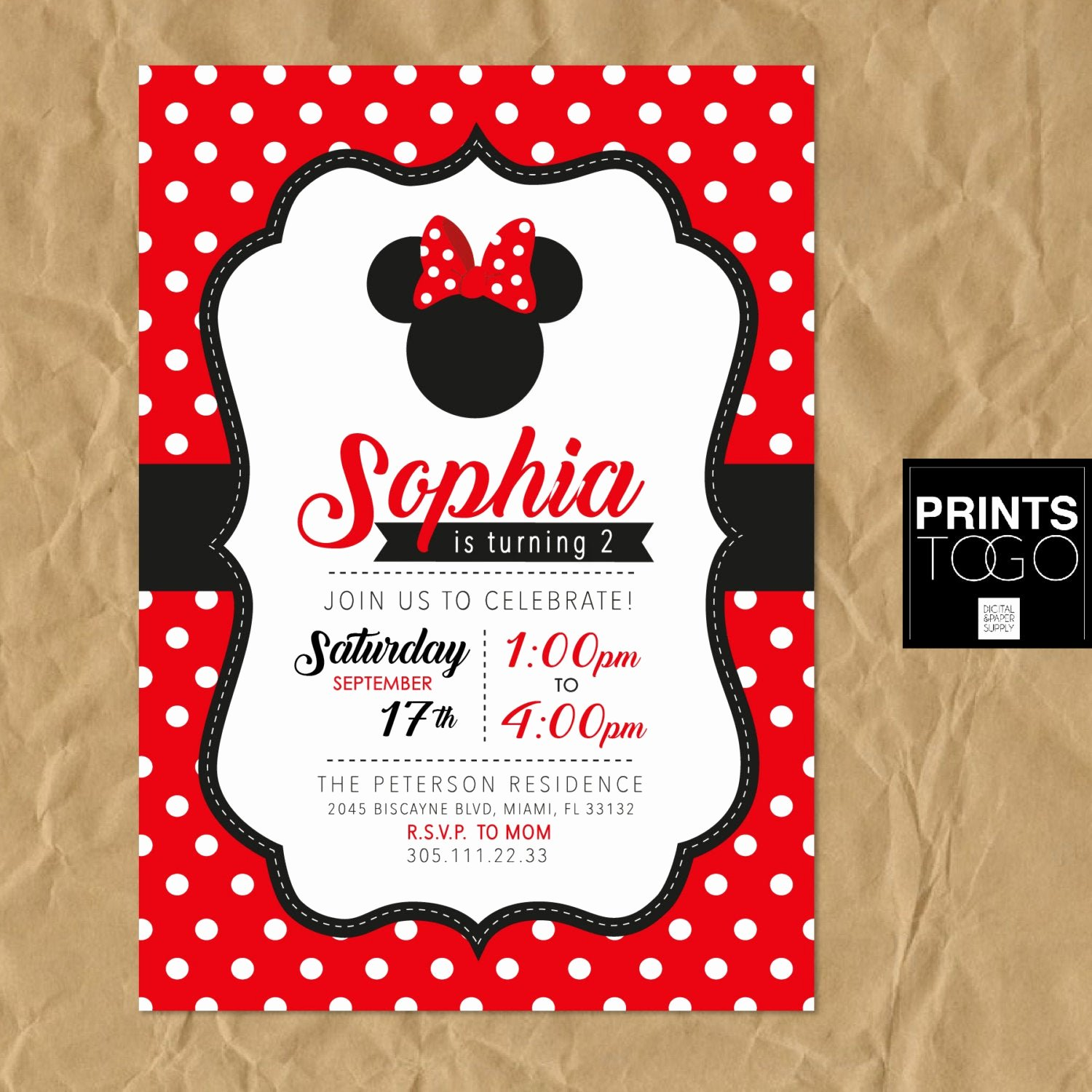 Printable Minnie Mouse Invitations Inspirational Minnie Mouse Printable Invitation Polka Dots Minnie Mouse