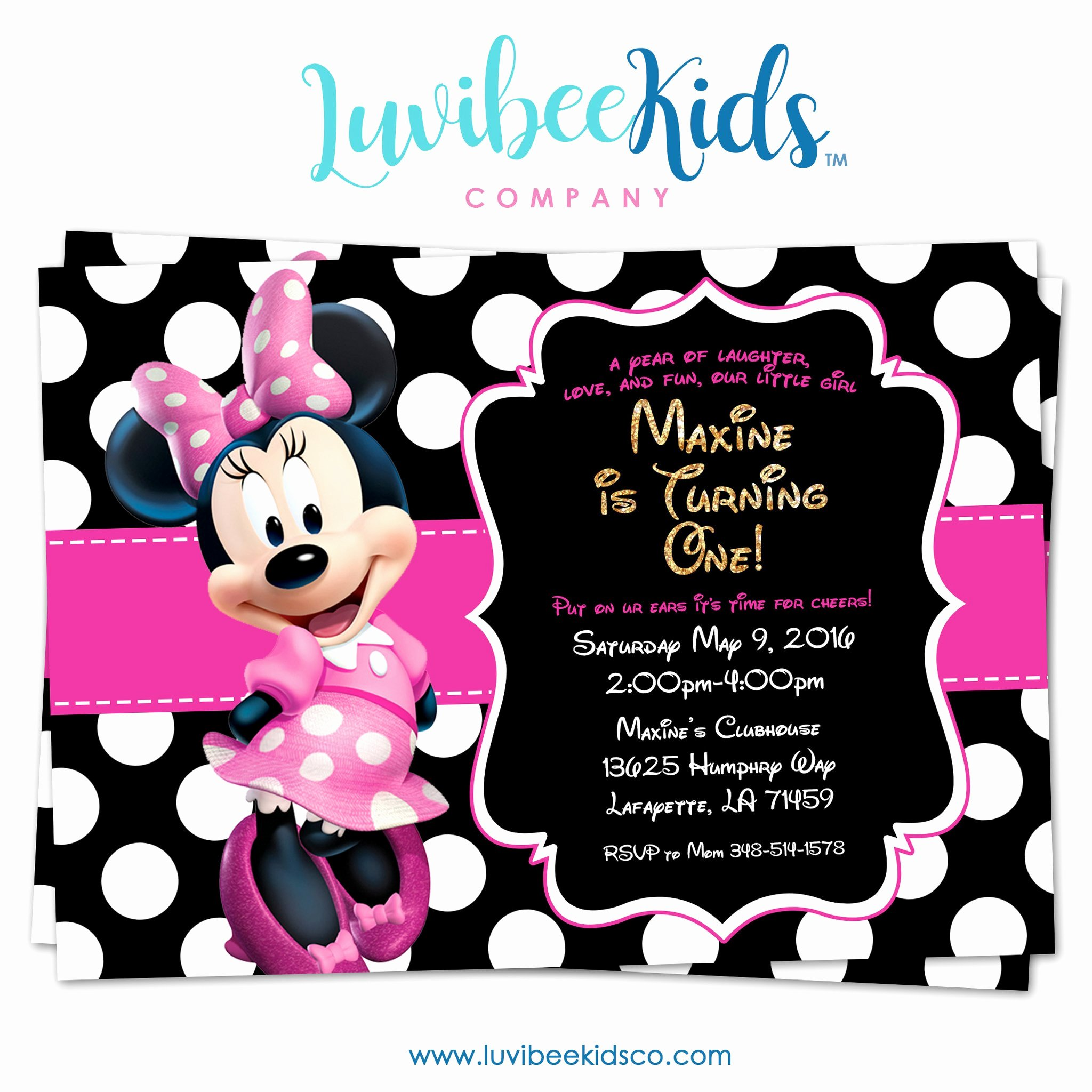 Printable Minnie Mouse Invitations Lovely Minnie Mouse Birthday Invitation Printable Invite