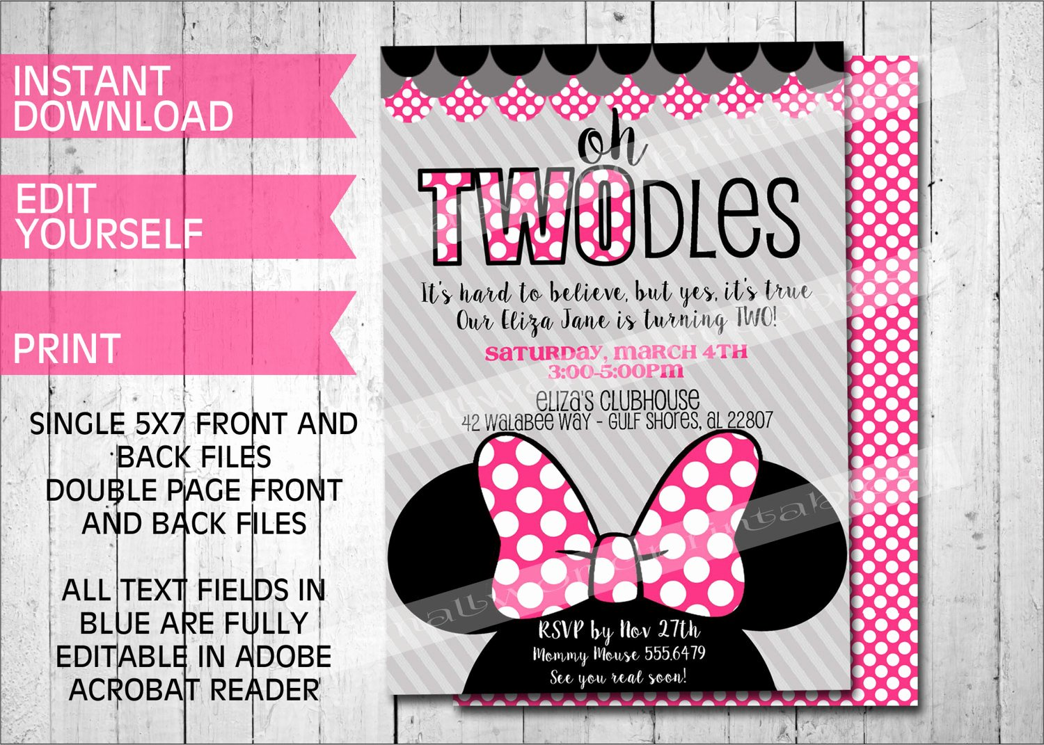 Printable Minnie Mouse Invitations New Oh Twodles Invitations Minnie Mouse Inspired Printable