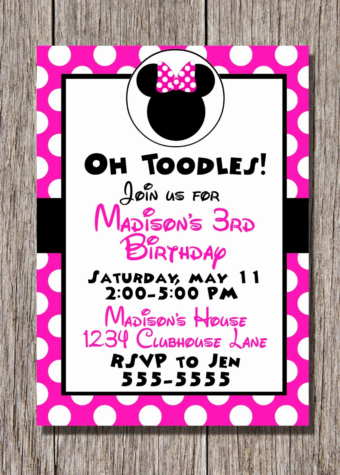 Printable Minnie Mouse Invitations Unique Pamela Renee Designs Party theme Pink or Red Minnie