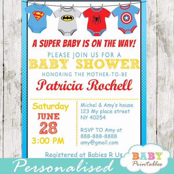 Printable Onesie Baby Shower Invitations Awesome Superhero Esie Baby Shower Invitation D210 Baby