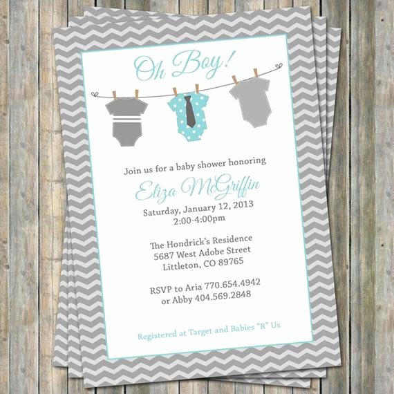 Printable Onesie Baby Shower Invitations Elegant Esie Baby Shower Invitation Oh Baby Shower Aqua and Gray