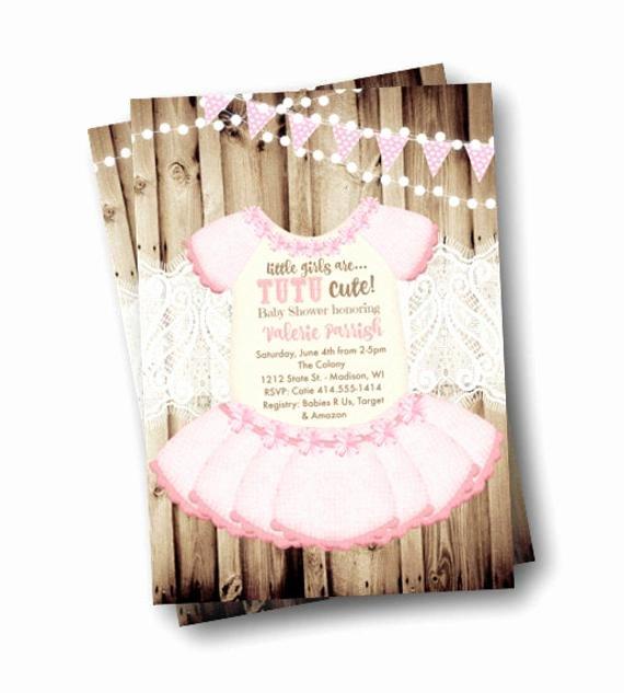 Printable Onesie Baby Shower Invitations Luxury Tutu Baby Shower Invitation Onesie Invite Girl Rustic Pink