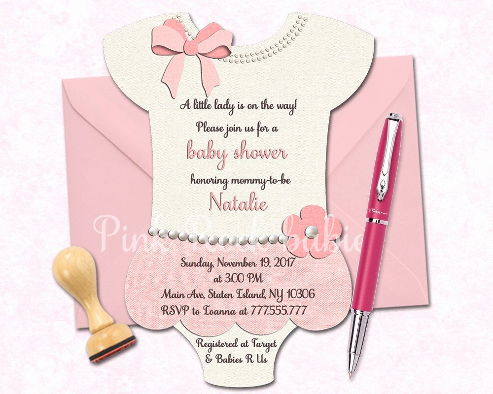 Printable Onesie Baby Shower Invitations New Esie Shaped Baby Shower Printable Invitation Girl Little