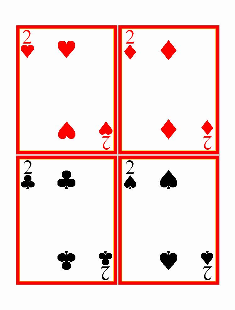 Printable Playing Card Template Elegant Twos