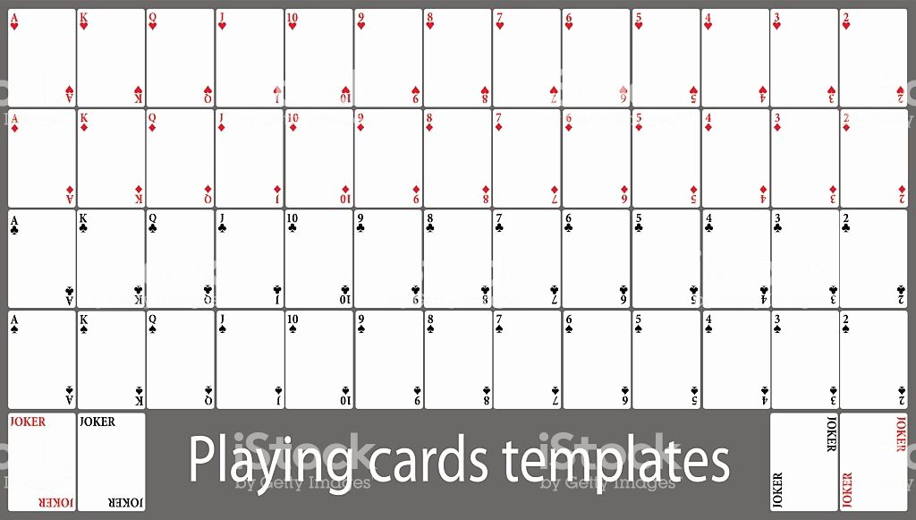 Printable Playing Card Template New Playing Cards Template Set Stock Vector Art
