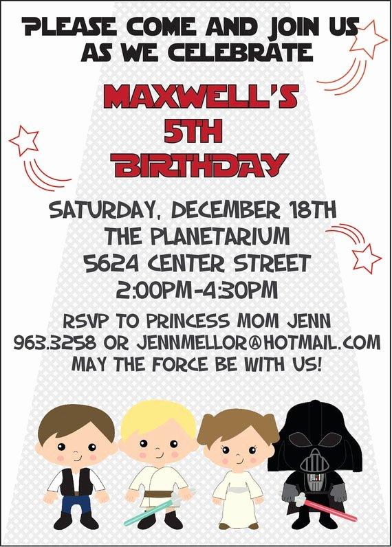 Printable Star Wars Birthday Invitations Awesome Items Similar to Custom Star Wars Birthday Party Diy Digital Printable Invitation On Etsy