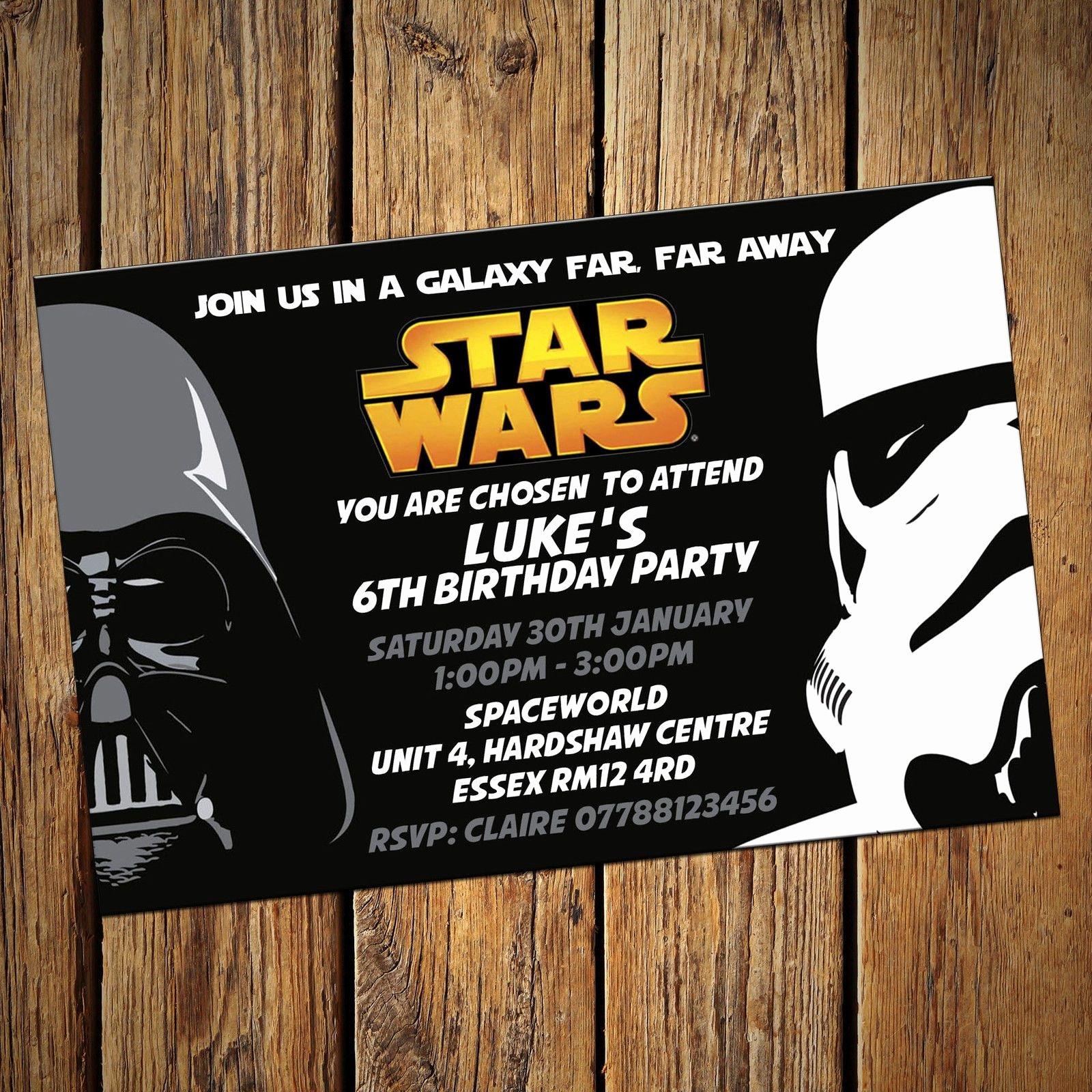Printable Star Wars Birthday Invitations Awesome Personalised Star Wars Invitations Party Invites Ics