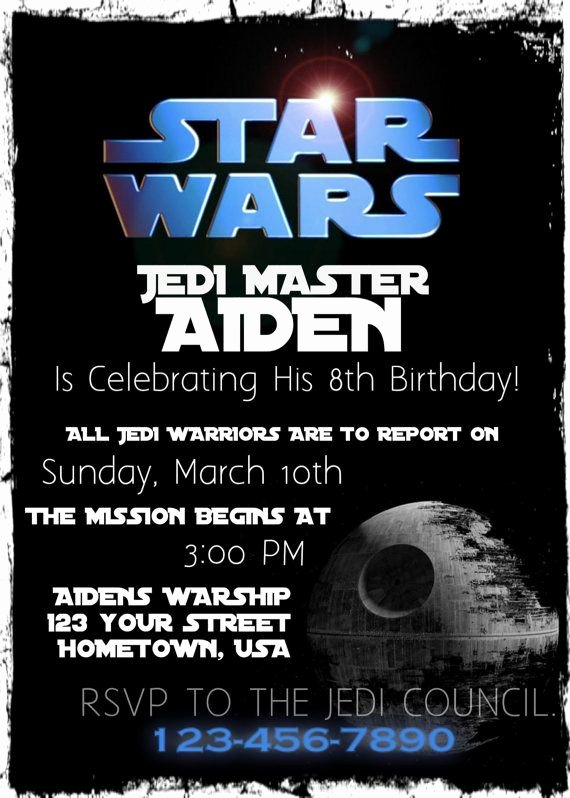 Printable Star Wars Birthday Invitations Awesome Star Wars Birthday Party Invitation Printable by Founditcards $12 00 Party In 2019