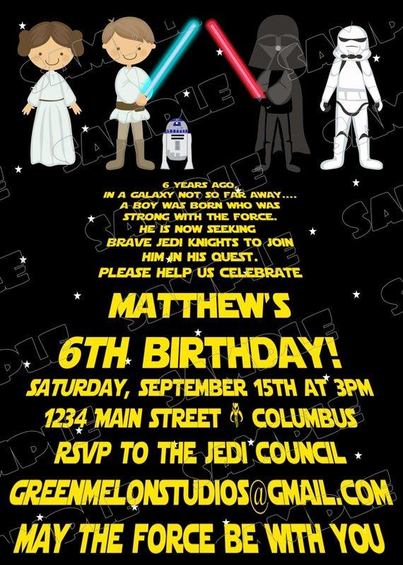 Printable Star Wars Birthday Invitations Awesome Star Wars Scroll Jedi Birthday Party Printable Invitations
