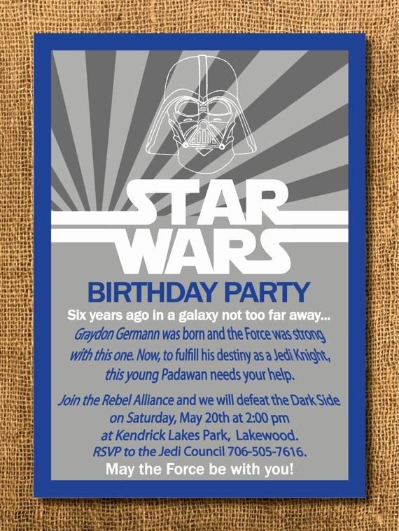 Printable Star Wars Birthday Invitations Best Of Star Wars Birthday Invitation Printable by Graysgraphicdesigns