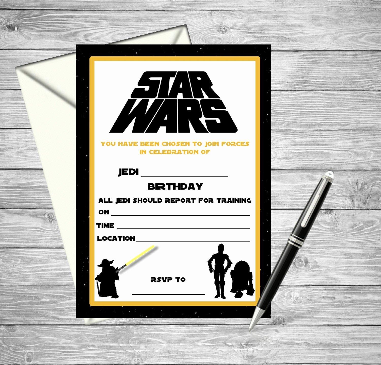 Printable Star Wars Birthday Invitations Luxury Star Wars Printable Birthday Invitation Fill by towermewithcake