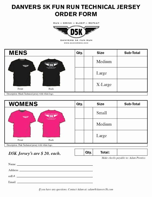 Printable T Shirt order form Awesome Printable T Shirt order forms Templates
