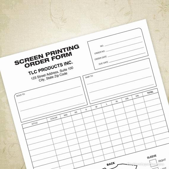 Printable T Shirt order form Beautiful Screen Printing order form Printable T Shirt Business form