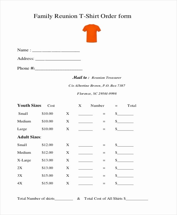 Printable T Shirt order form New Free 10 Sample T Shirt order forms In Doc