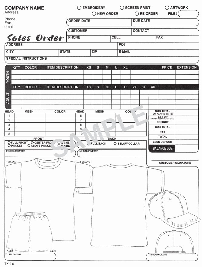 Printable T Shirt order form Unique T Shirt order form