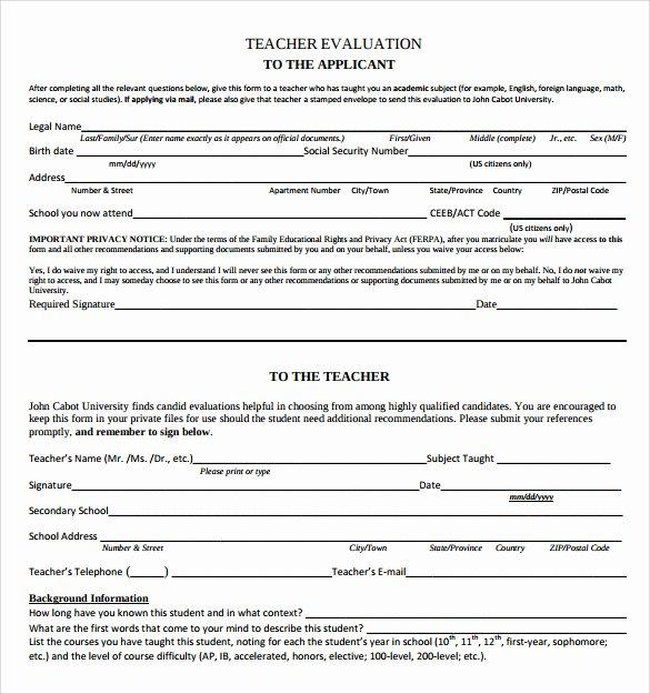 Printable Teacher Evaluation form Awesome Pensoftware Blog
