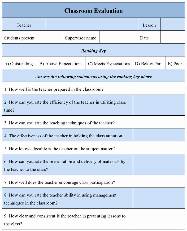 Printable Teacher Evaluation form Elegant Printable Classroom Evaluation form