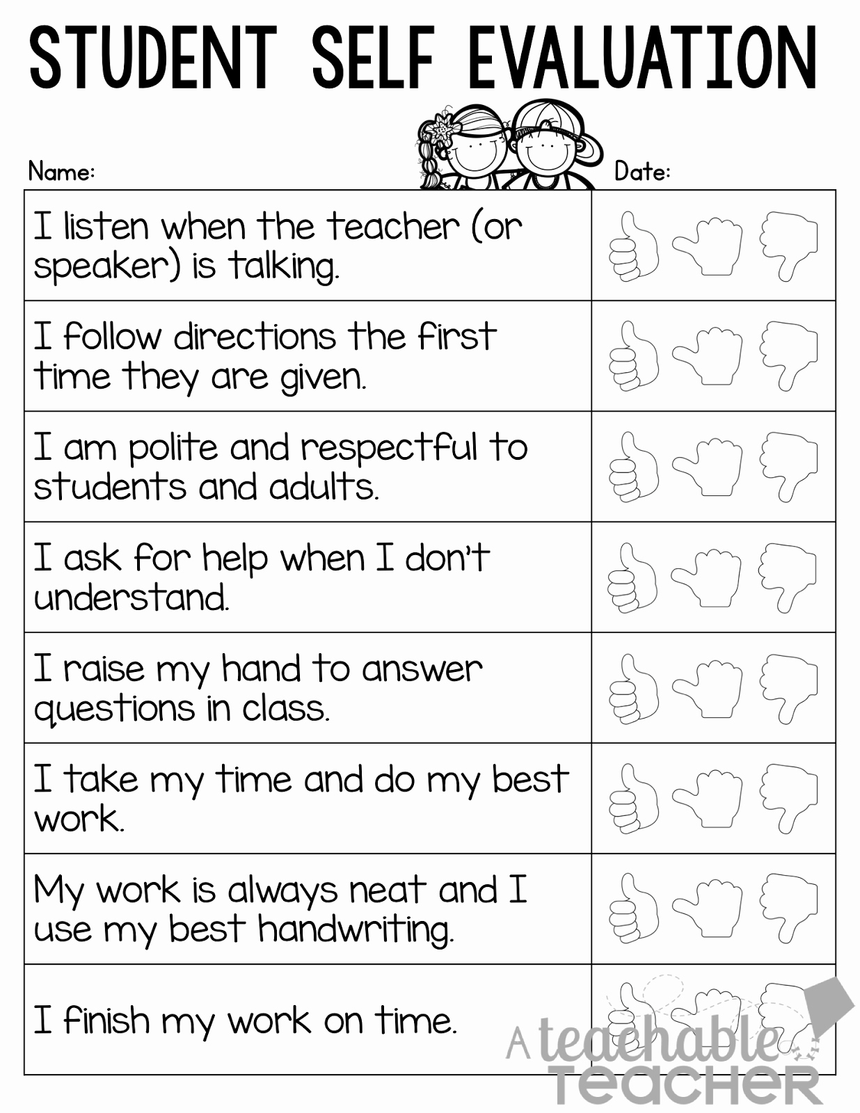 Printable Teacher Evaluation form New Parent Teacher Conference Tips and Freebies Linky Party A Teachable Teacher