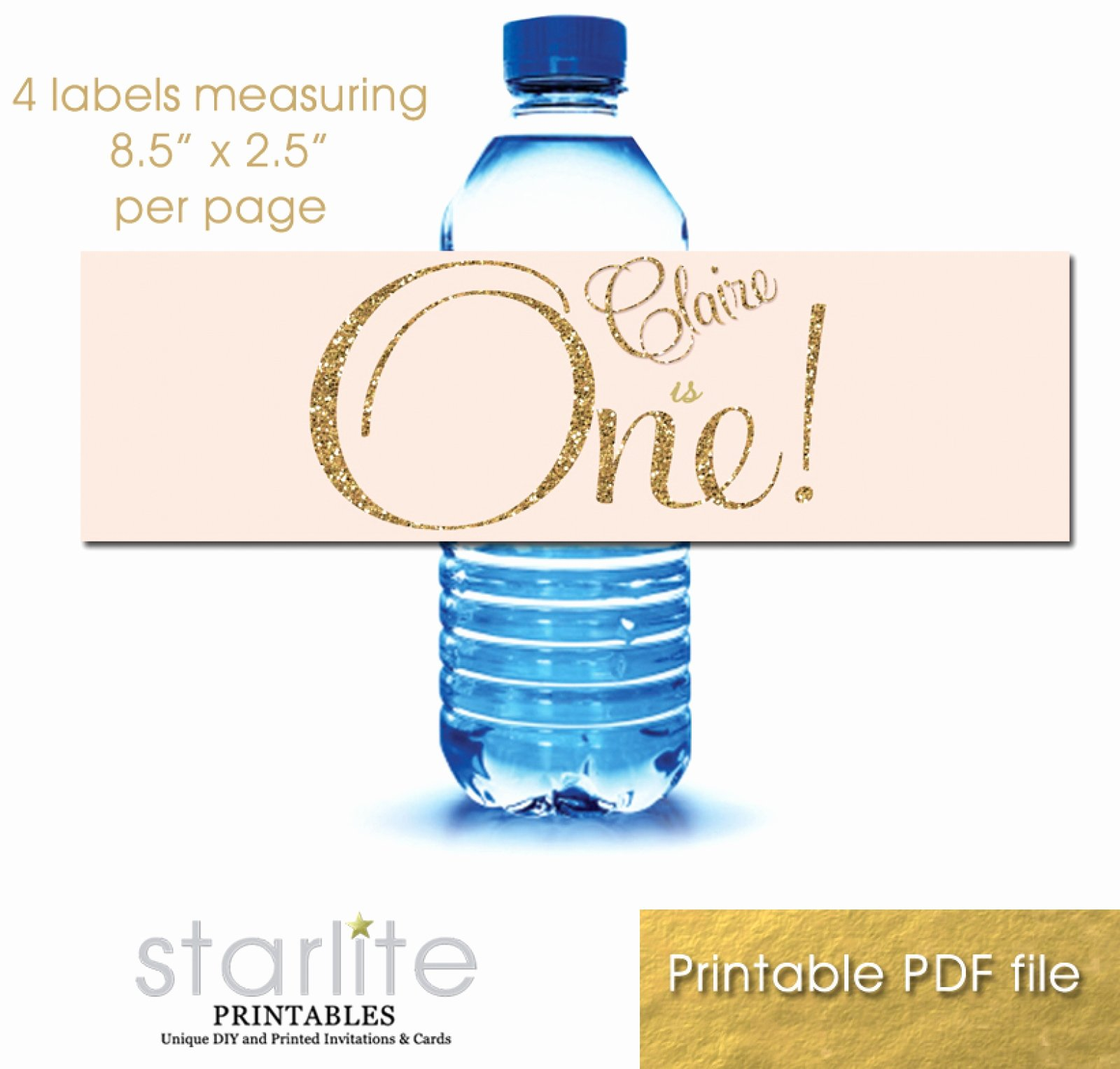 Printable Water Bottle Labels Beautiful 1st Birthday Blush Pink Gold Glitter Printable Water Bottle Labels