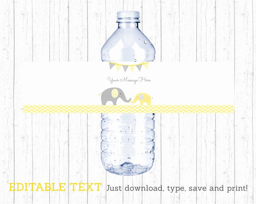Printable Water Bottle Labels Elegant Yellow Chevron Elephant Water Bottle Labels Printable Editable Pdf