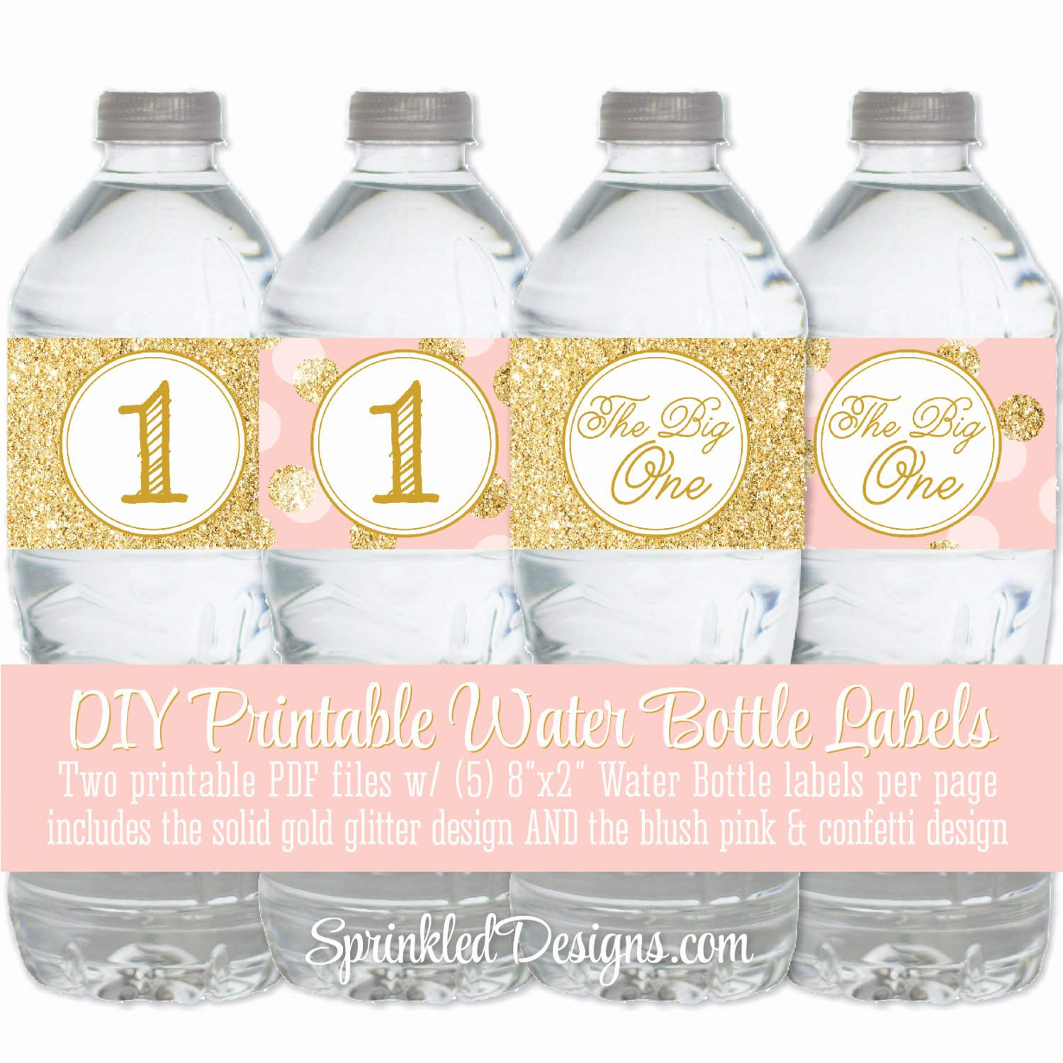 Printable Water Bottle Labels Unique Printable Water Bottle Labels Drink Wraps Wrappers Blush