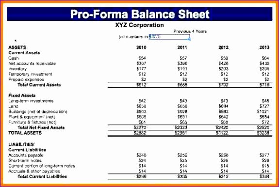 Pro forma Balance Sheet Template Beautiful 10 Pro forma Balance Sheet Template Excel Exceltemplates Exceltemplates