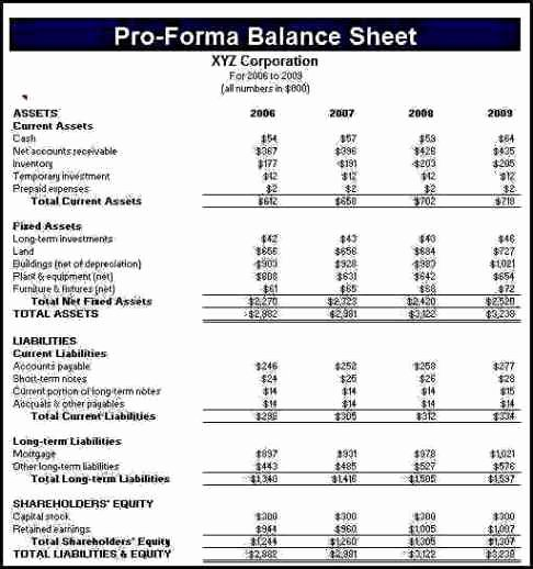 Pro forma Balance Sheet Template Fresh 6 Pro forma Financial Statement Template Template Update234 Template Update234