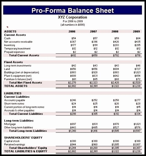Pro forma Balance Sheet Template Fresh 9 Pro forma Financial Statements Template Template Update234 Template Update234