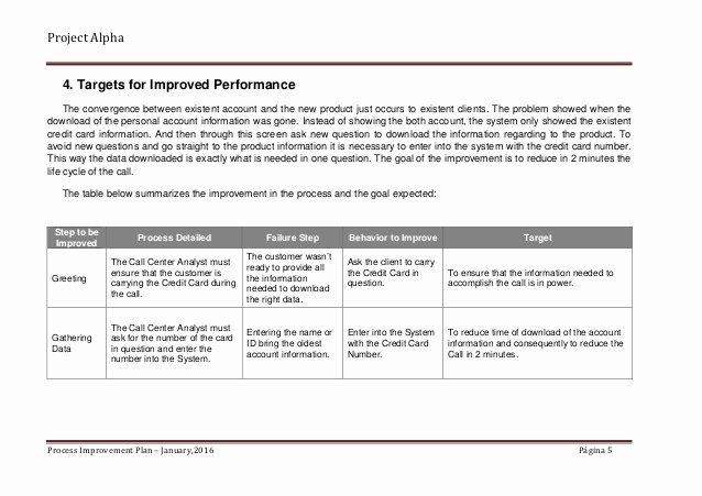Process Improvement Plan Templates Best Of Alpha Case Study Process Improvement Plan Sample