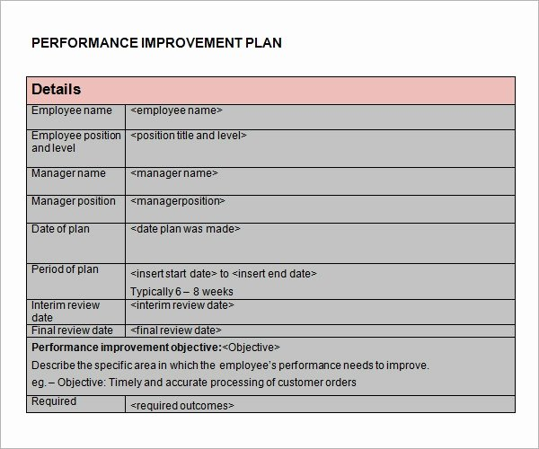 Process Improvement Plan Templates Luxury Free 11 Sample Performance Improvement Plan Templates In Pdf