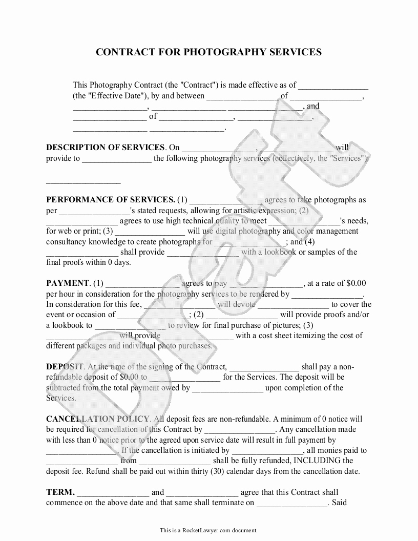 Product Photography Contract Template Beautiful Graphy Contract Template for Weddings Portraits events