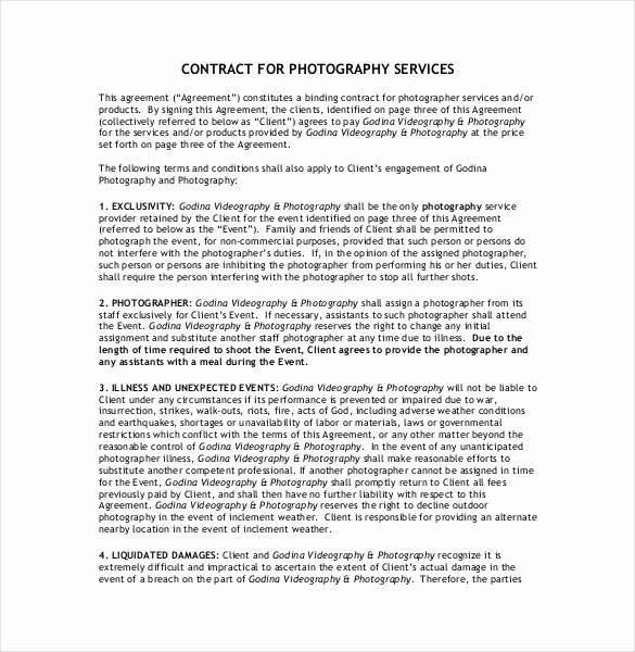 Product Photography Contract Template Elegant 20 Graphy Contract Template