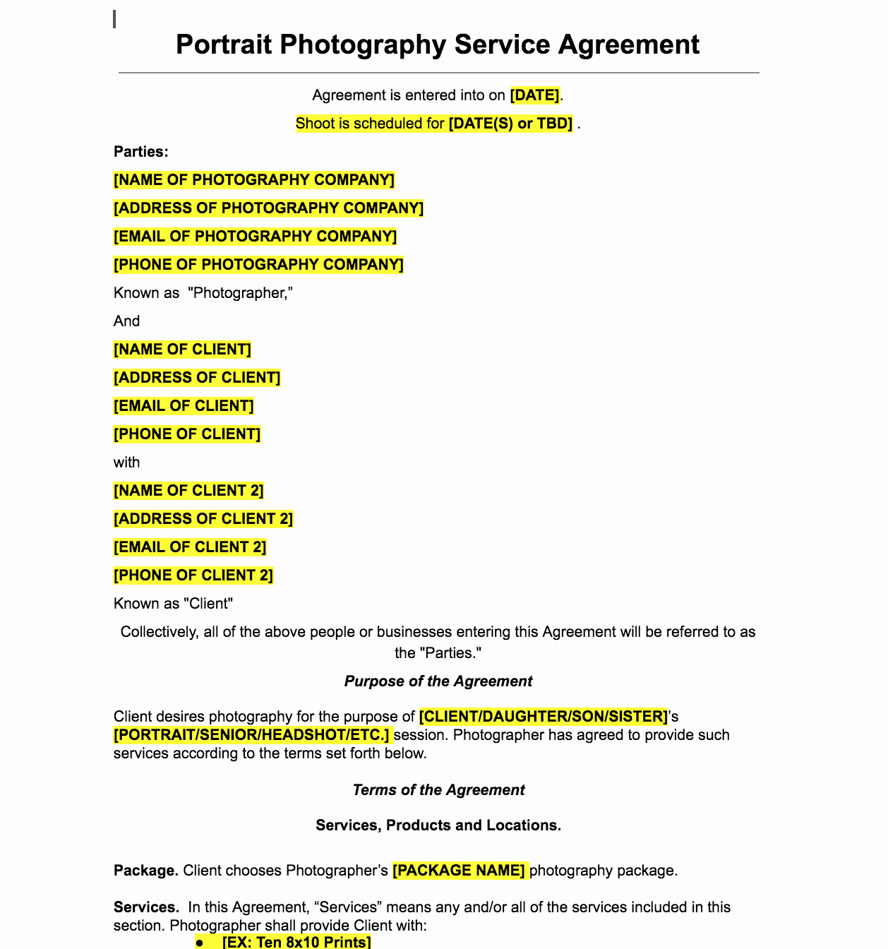 Product Photography Contract Template Elegant Portrait Graphy Contract Template the Contract Shop