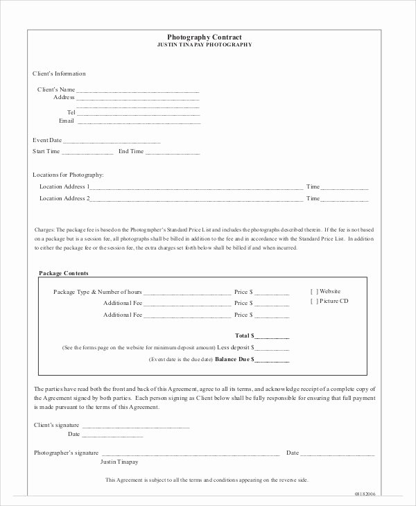 Product Photography Contract Template Luxury Graphy Agreement Contract Sample 7 Examples In Word Pdf