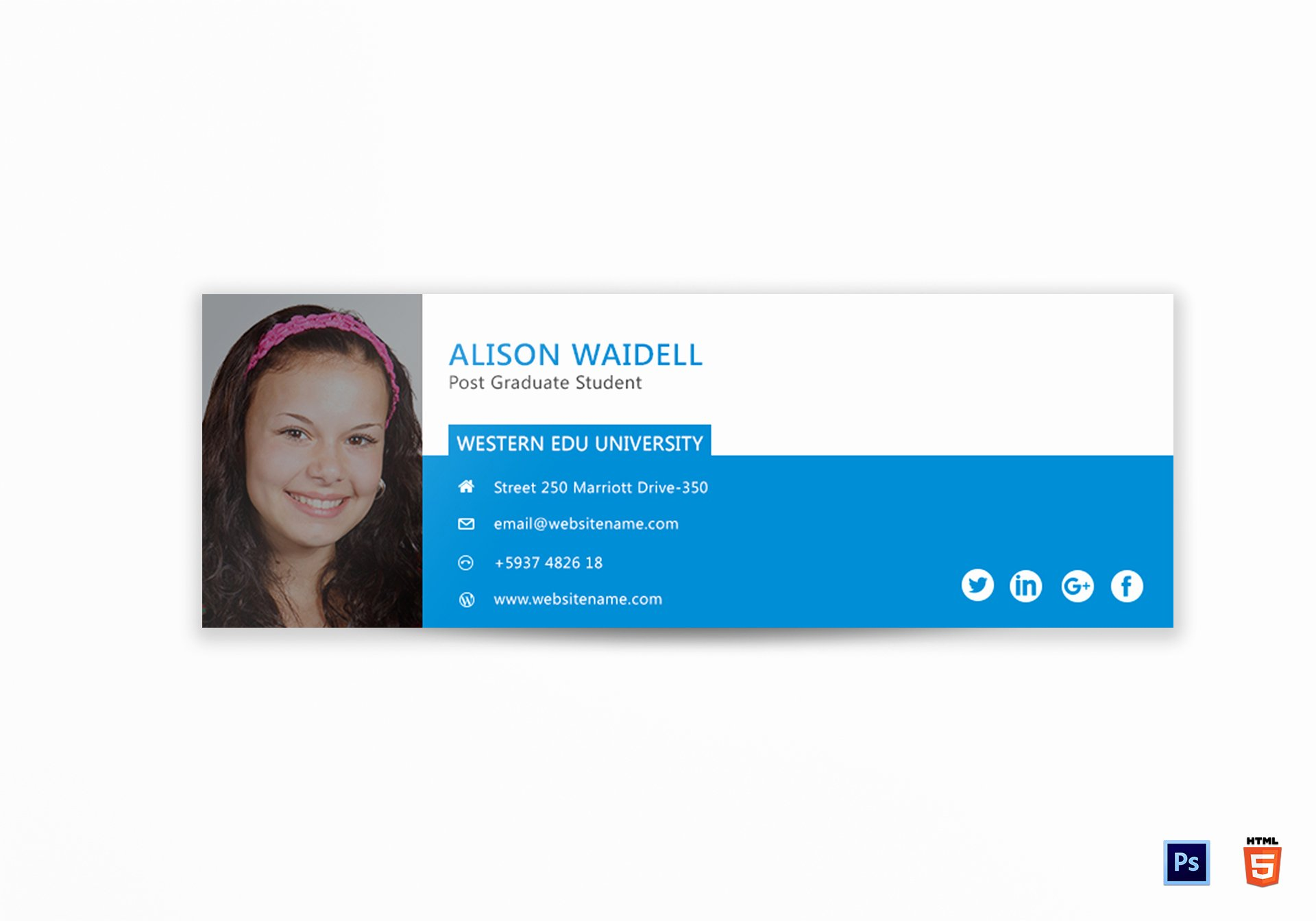 Professional Email Signature College Student New Postgraduate Student Email Signature Design Template In Psd HTML