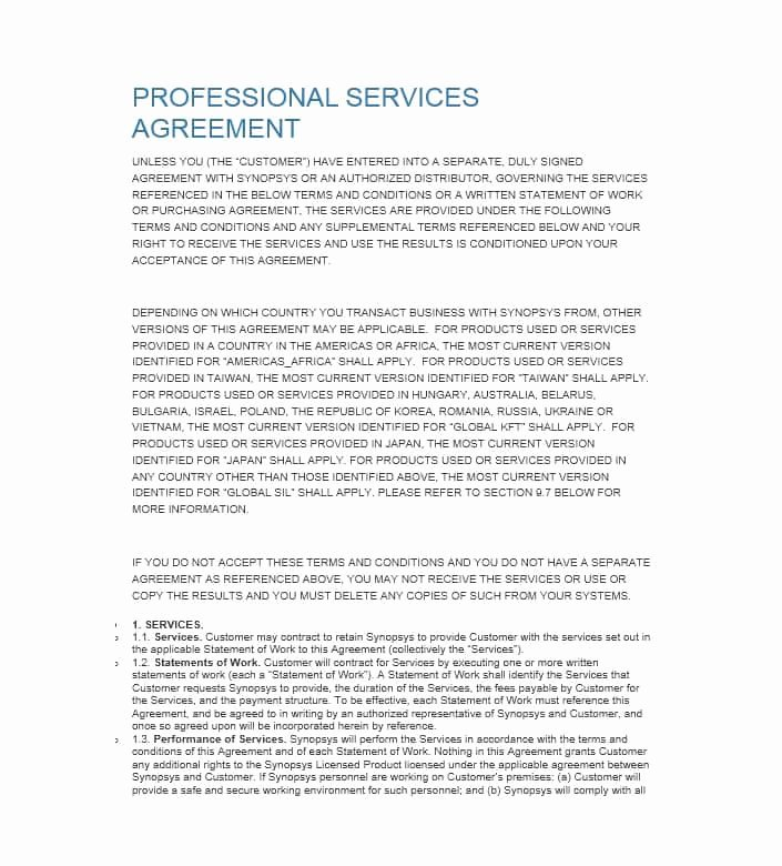 Professional Services Agreement Template Fresh 50 Professional Service Agreement Templates & Contracts