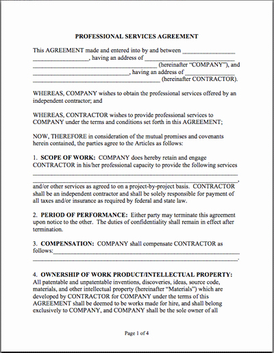 Professional Services Agreement Template Unique Sample Professional Services Agreement