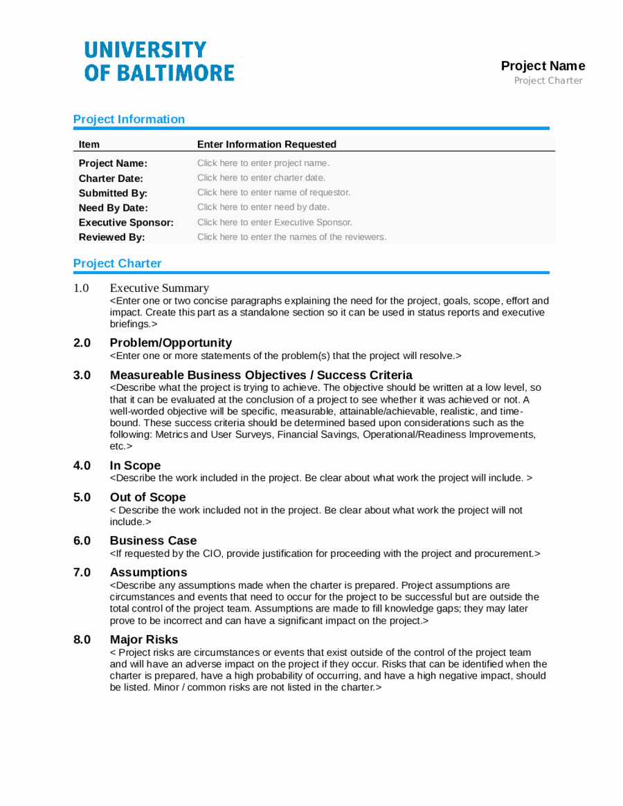 Project Charter Example Pdf Lovely 2019 Project Charter Template Fillable Printable Pdf & forms