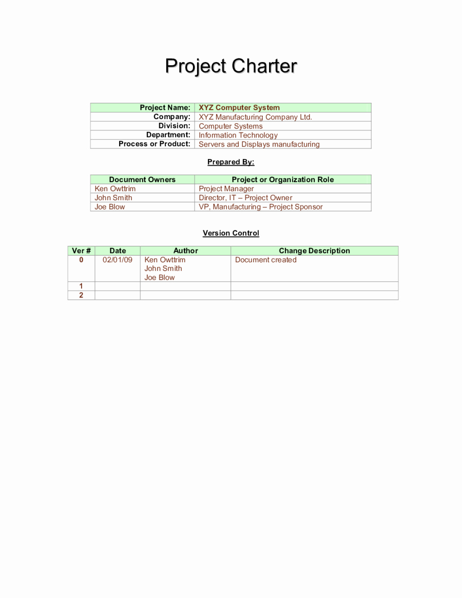Project Charter Example Pdf New 2019 Project Charter Template Fillable Printable Pdf & forms