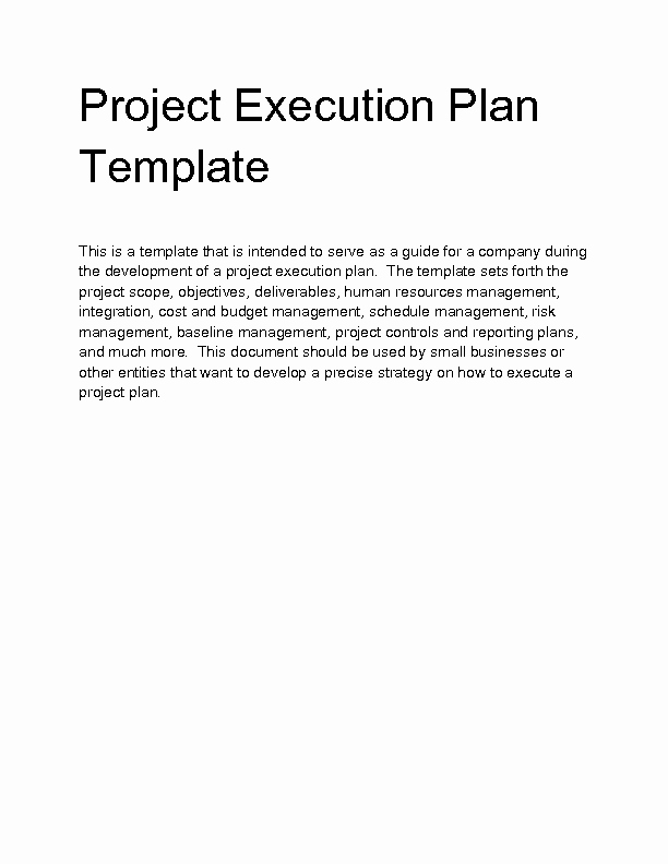 Project Execution Plan Template Unique Wel E to Docs 4 Sale