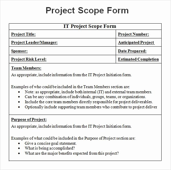 Project Management Scope Template Elegant Free 7 Sample Project Scope Templates In Pdf
