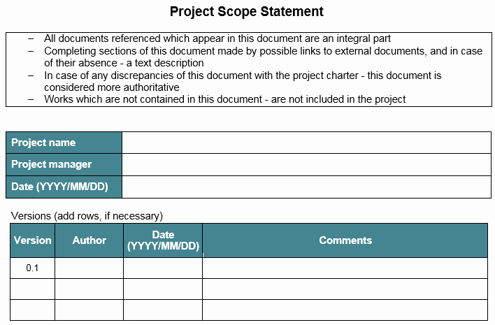 Project Management Scope Template Inspirational Template – Project Scope Statement – Great Project Manager