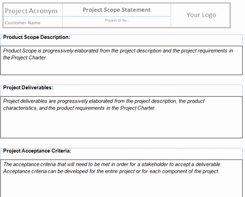 Project Management Scope Template New Project Management Scope Template