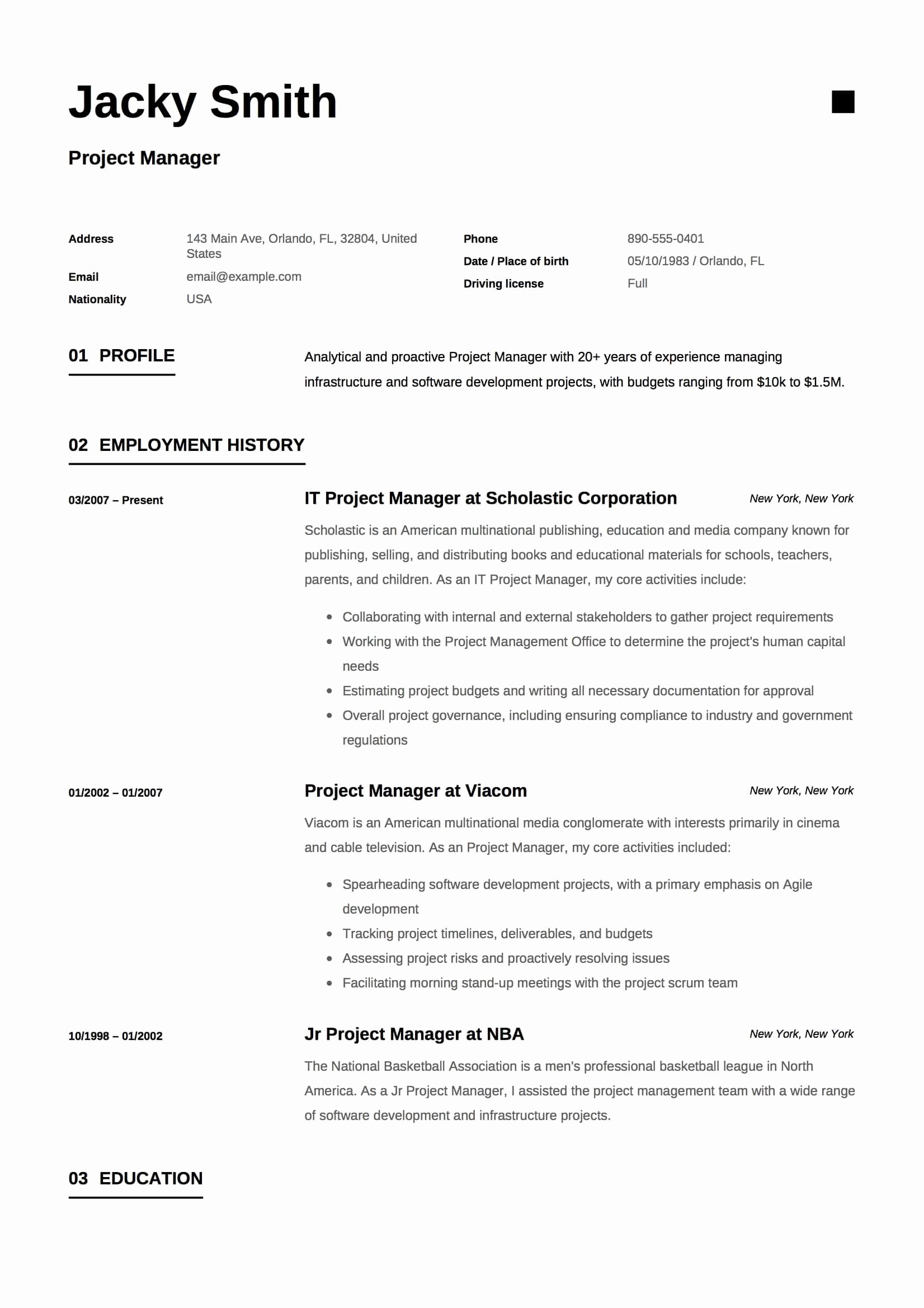 Project Manager Resume Pdf Best Of Project Manager Resume & Full Guide